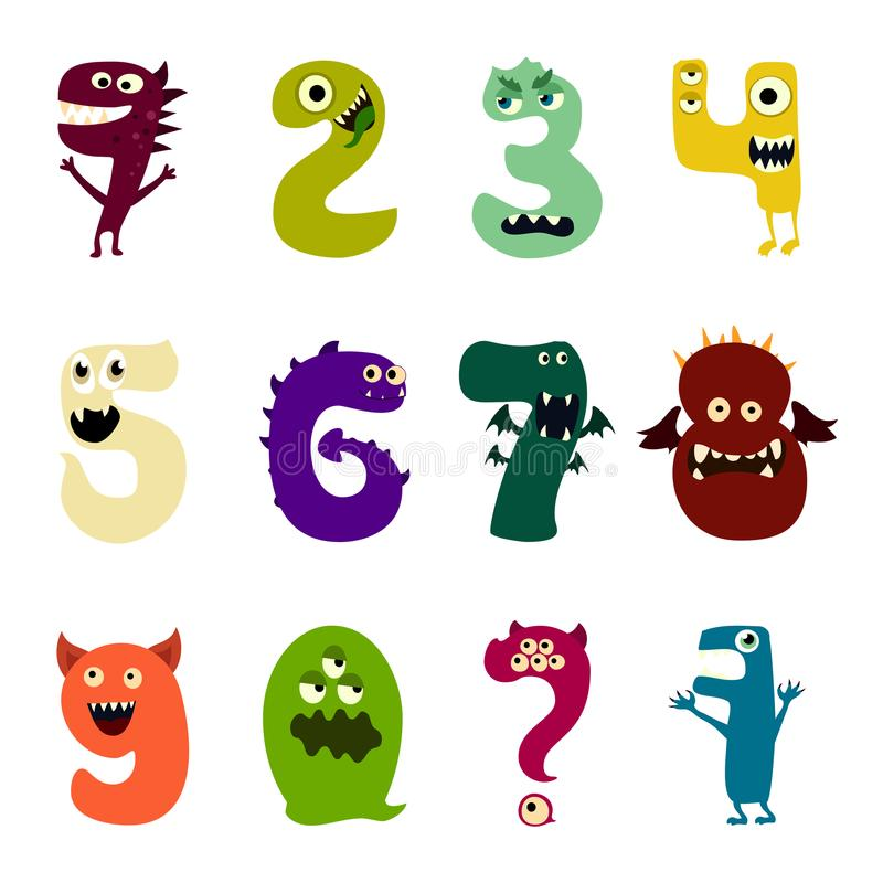 Cartoon flat monsters alphabet big set icons. Colorful monster kids toy cute monsters tongue. Vector stock illustration