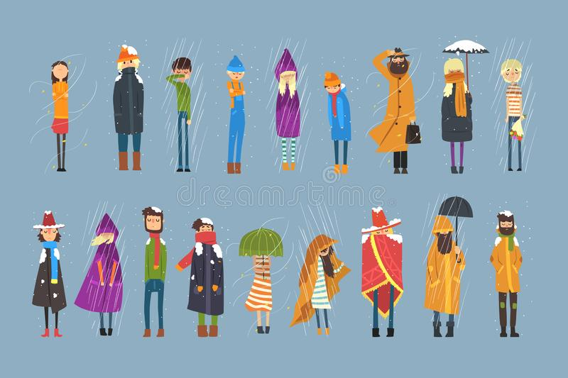 Cartoon flat people characters set freezing outside. Rainy and snowy weather. Boy with bouquet of flowers, man in. Cartoon people characters set freezing outside royalty free illustration