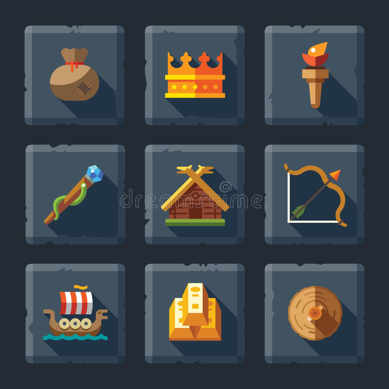 Cartoon flat relief game icon set on stone stock illustration