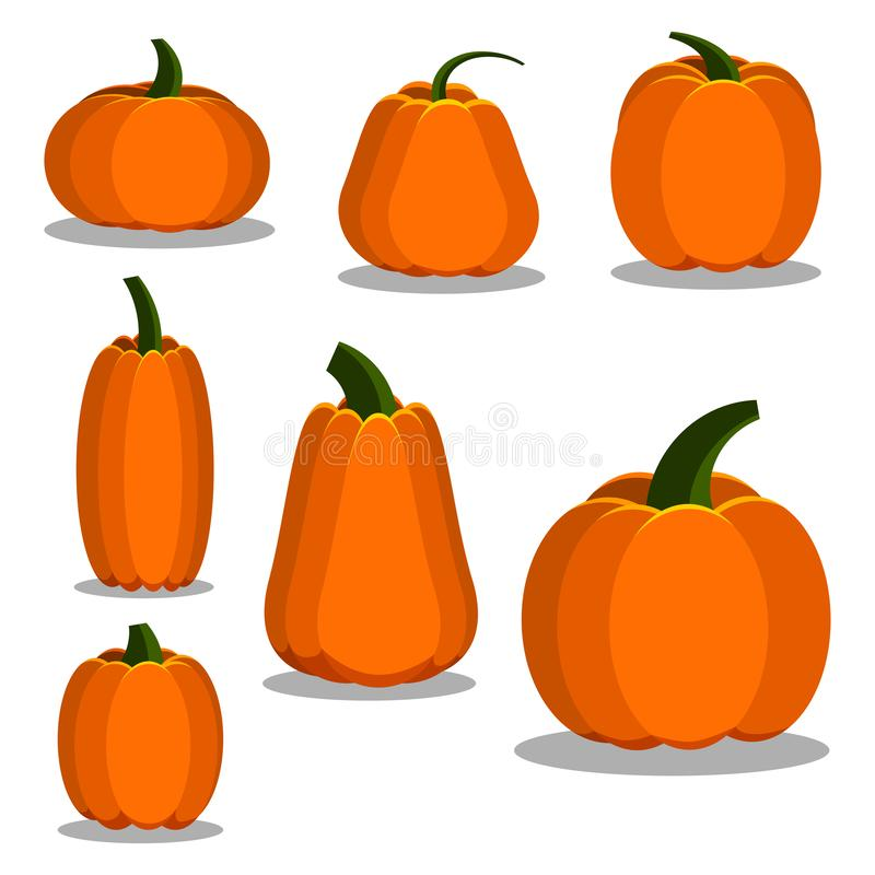 Cartoon flat style colorful pumpkin icons set royalty free illustration