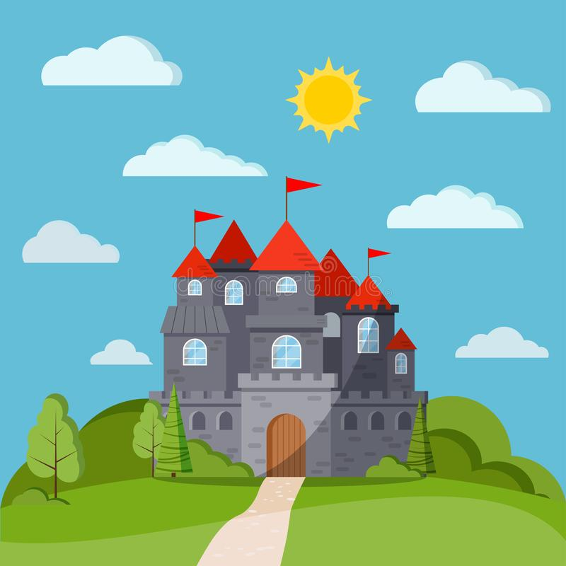 Cartoon flat style fairy tale background with grey stone castle tower stock illustration