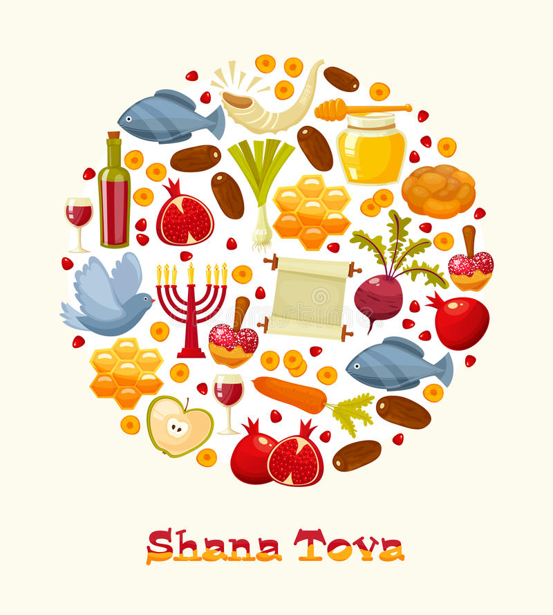 Cartoon flat vector illustration of icons for Jewish new year holiday Rosh Hashanah. stock illustration