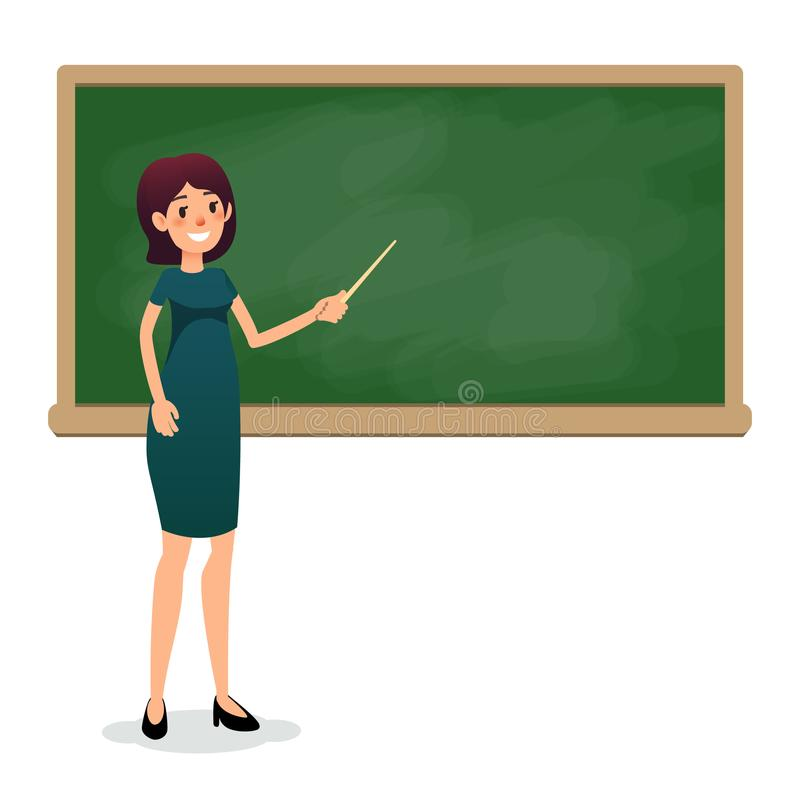 Cartoon flat women with pointer in the classroom near the blackboard is teaching a lesson. Yang female teacher at the stock illustration