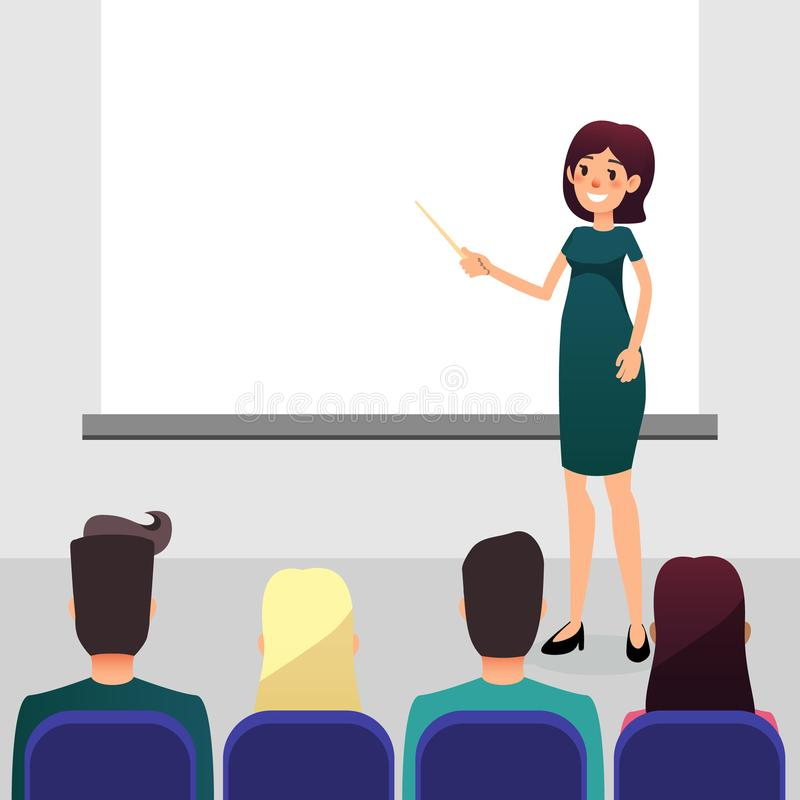 Cartoon flat women with pointer trains participants of the seminar. Female speaker doing presentation and professional. Training. Coach talks about new stock illustration