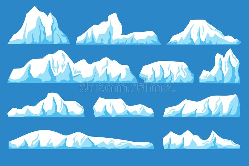Cartoon floating iceberg vector set. Ocean ice rocks landscape for climate and environment protection concept vector illustration