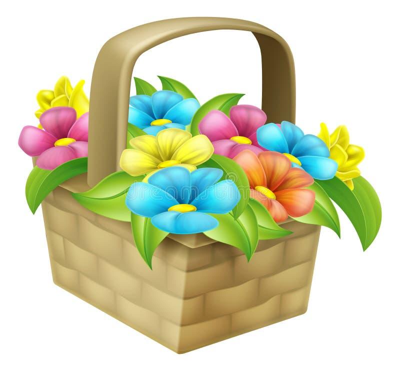 Cartoon Floral Basket stock illustration