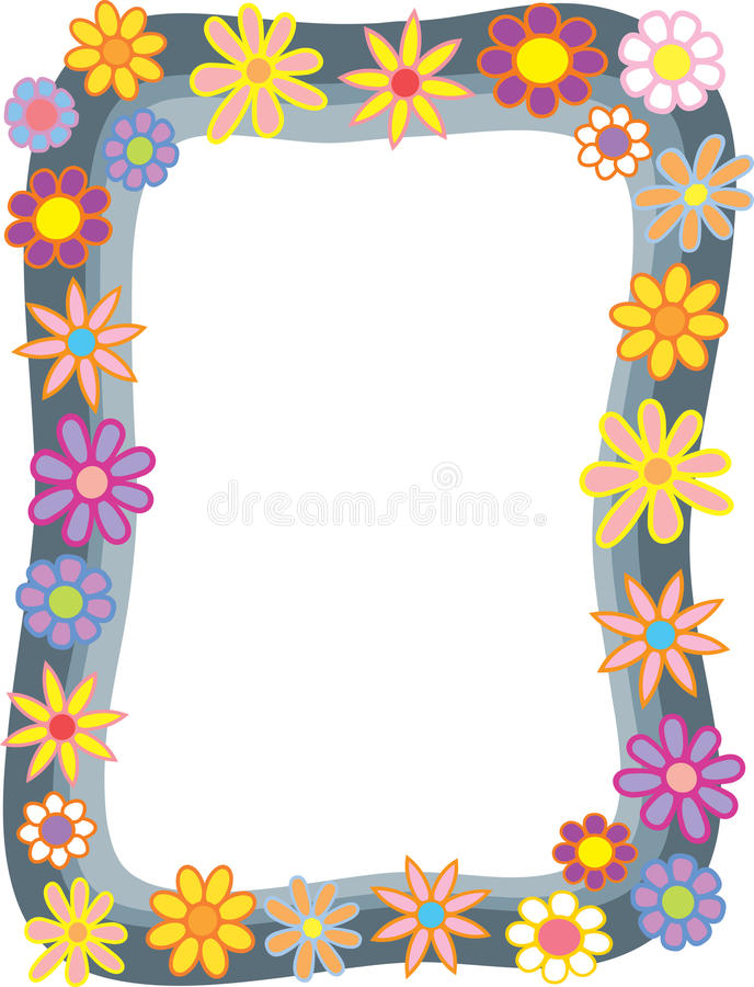Cartoon Flower Border vector illustration
