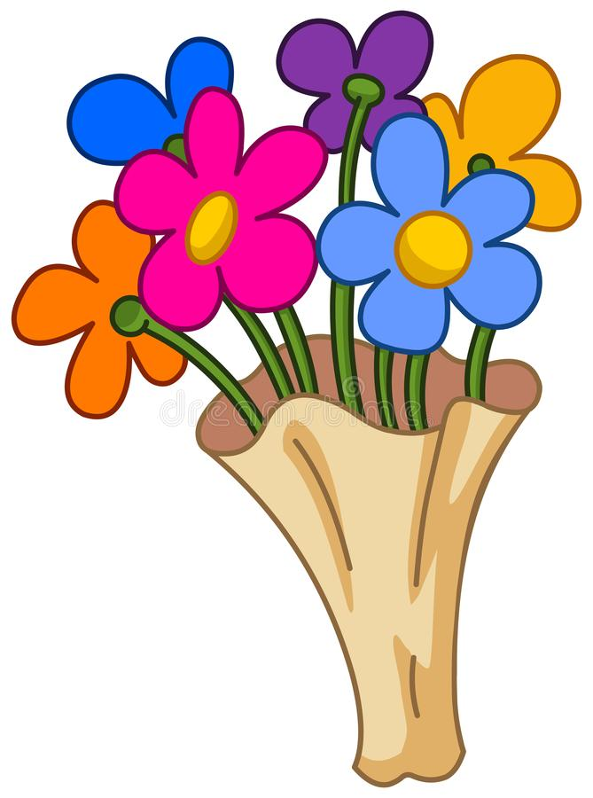 Cartoon flower bouquet stock vector. Illustration of birthday ...