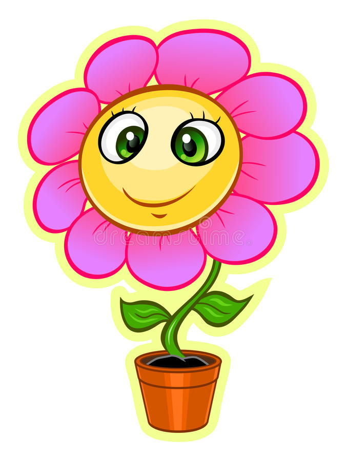 cartoon flower stock vector illustration of pink flowering 61905655 rh dreamstime com flower cartoon pictures free flower cartoon black and white