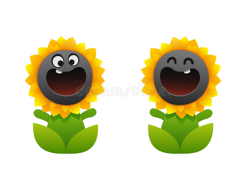 Cartoon flower smiling two types sunflower royalty free illustration