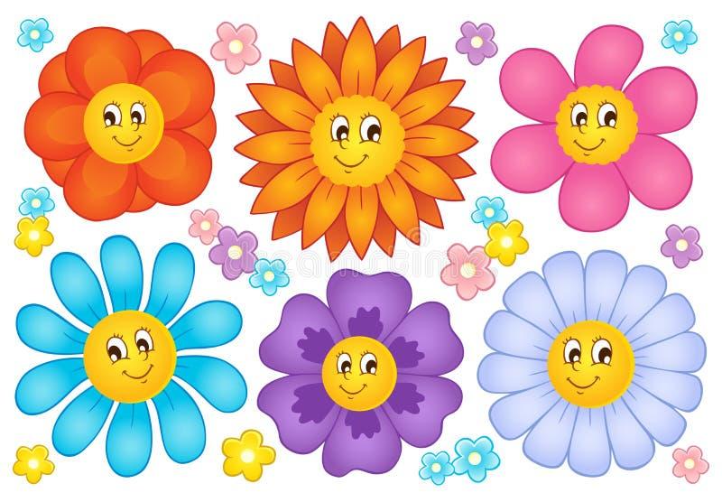 Cartoon flowers collection vector illustration