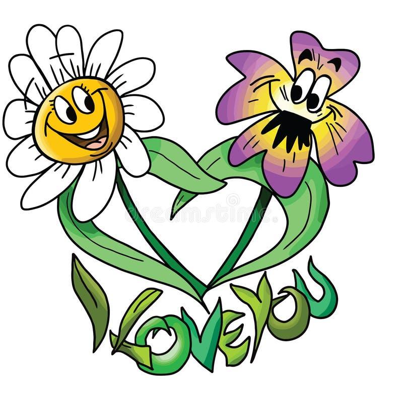 Cartoon flowers, couple in love, vector illustration stock illustration