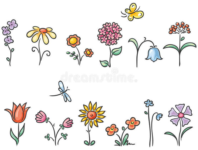 Cartoon flowers of different kinds royalty free illustration