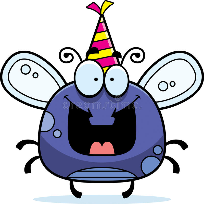 Cartoon Fly Birthday Party. A cartoon illustration of a fly with a party hat looking happy royalty free illustration