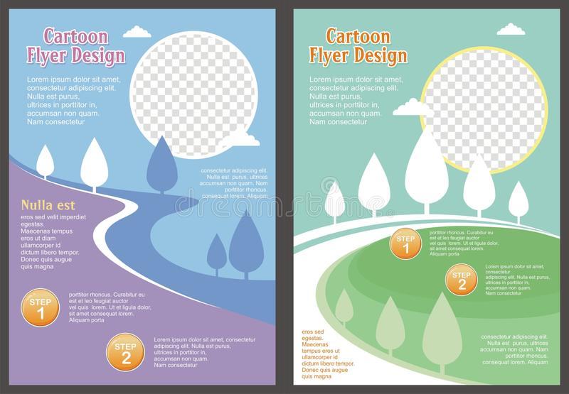 Cartoon Flyer - Brochure with Lovely design. Cartoon Flyer - Brochure Lovely design and cute color with nature and landscape background theme stock illustration
