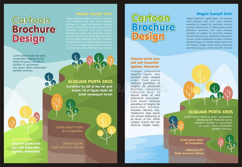 Cartoon Flyer - Brochure Lovely design. And cute color with nature and landscape background theme vector illustration