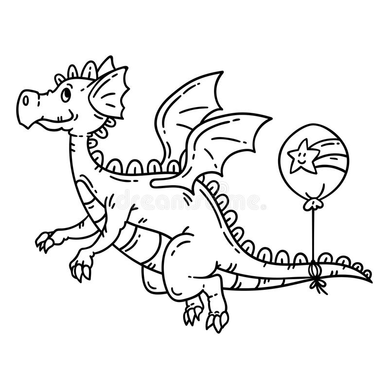 Cartoon flying dragon. Isolated objects on white background. Vector illustration. Coloring pages. royalty free illustration