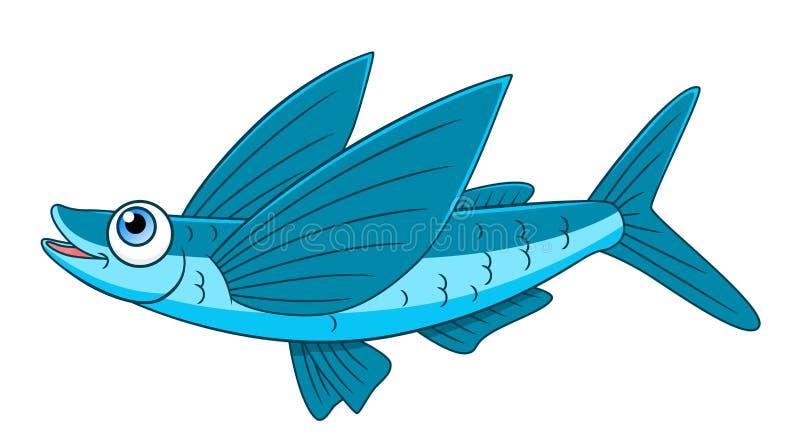 Cartoon flying fish. Isolated on white background vector illustration