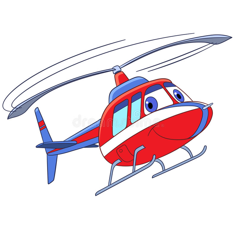 Cartoon flying helicopter stock photo