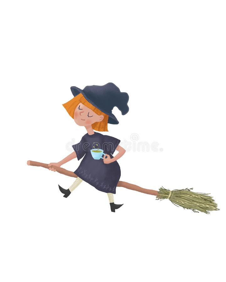 Cartoon flying Little sleepy witch on a broomstick. Cute character illustation as print design and postcard. Raster Illustration I. Solated on white background stock photo