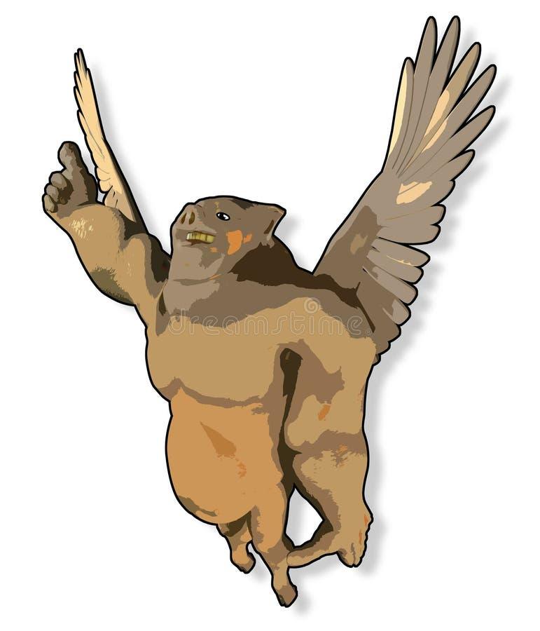 Cartoon flying pig royalty free illustration