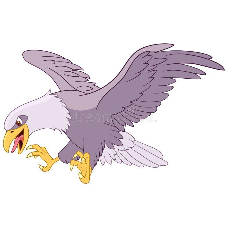 Cartoon flying predatory eagle bird royalty free stock image
