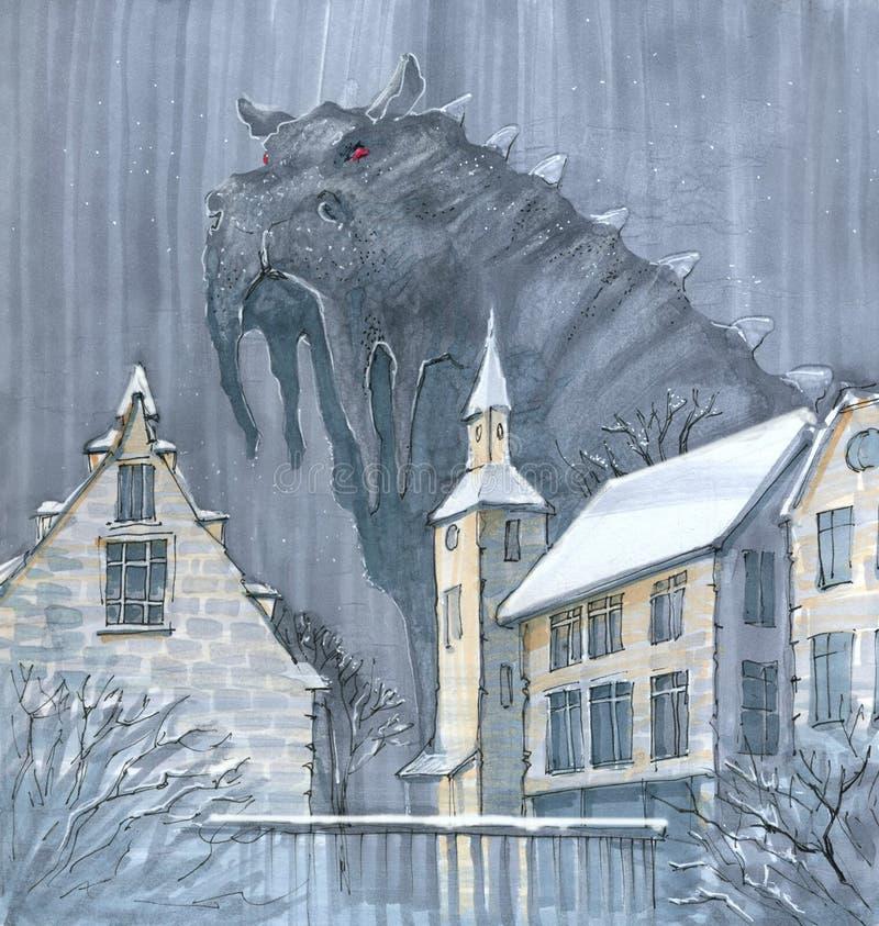 Cartoon foggy monster vector illustration