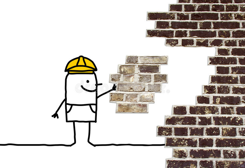 Cartoon foreman holding a missing piece for a wall stock photos