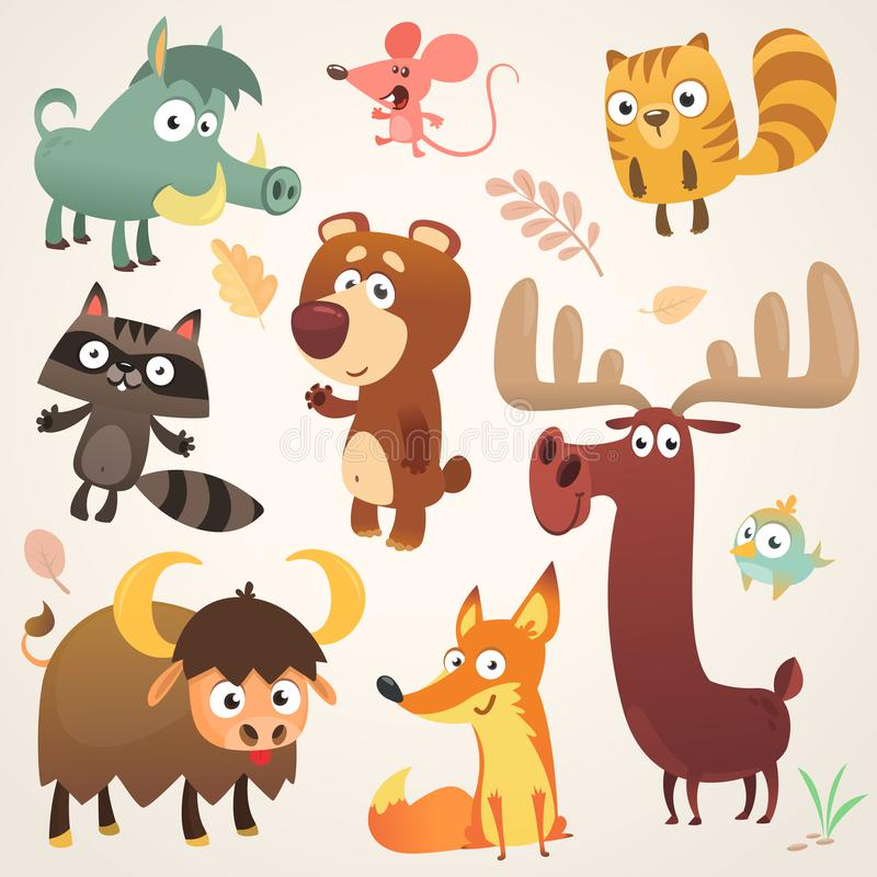 Cartoon forest animal characters. Vector illustration. Big set of cartoon forest animals illustration. Squirrel mouse raccoon boar fox buffalo bear moose bird stock illustration