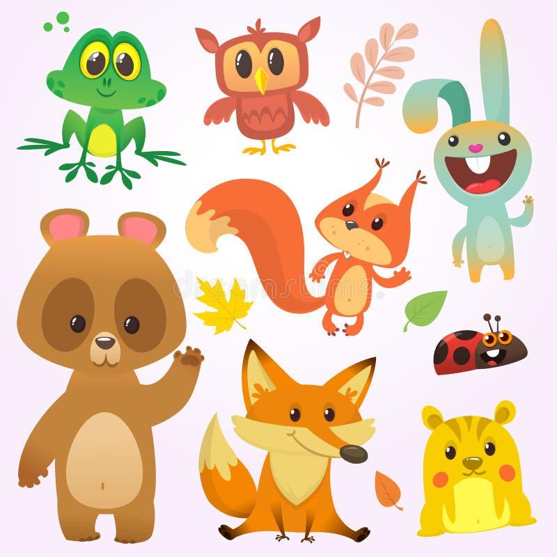 Cartoon forest animal characters. Vector illustration. Big set of cartoon woodland animals illustration.  vector illustration