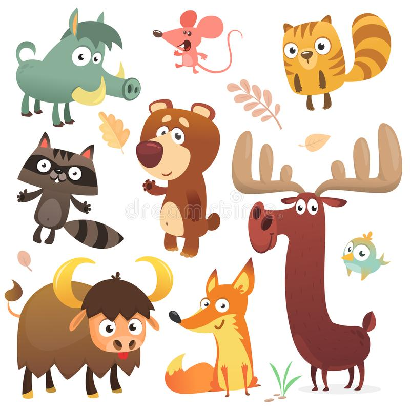 Cartoon forest animal characters. Wild cartoon cute animals collections vector. Big set of cartoon forest animals flat vector. Illustration. Squirrel mouse vector illustration