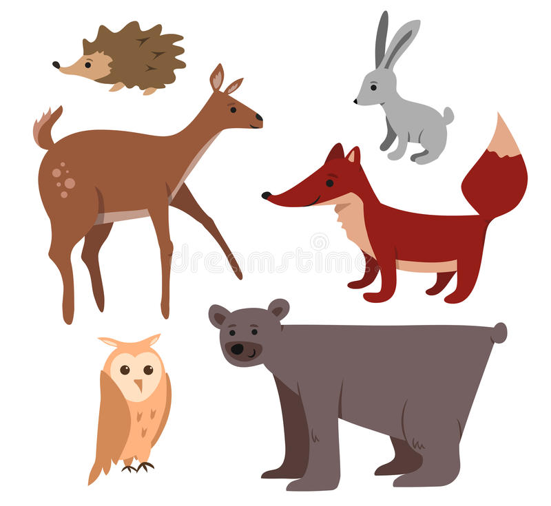 Cartoon forest animals set royalty free stock photo