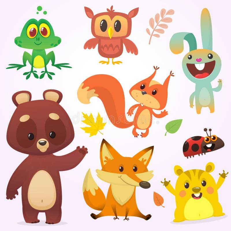 Cartoon forest animals set. Vector illustration. Big set of cartoon woodland animals illustration royalty free illustration