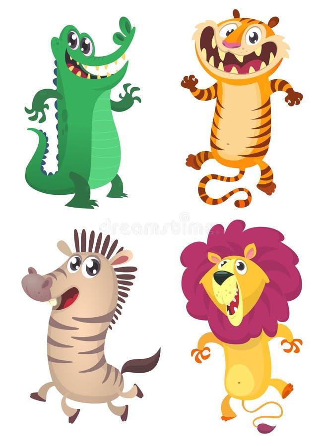 Cartoon forest animals set. Vector illustration of crocodile, tiger, zebra, lion royalty free illustration