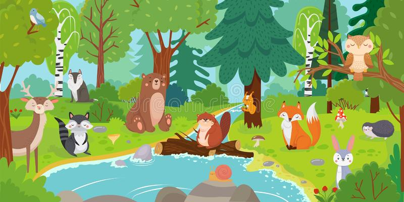 Cartoon forest animals. Wild bear, funny squirrel and cute birds on forests trees kids vector background illustration stock illustration