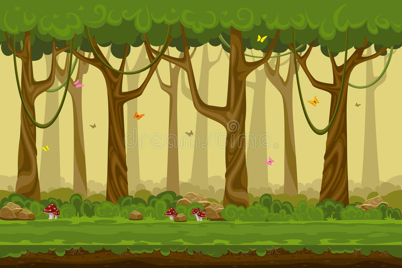 Cartoon forest landscape, endless vector nature. Background for computer games. Nature tree, outdoor plant green, natural environment wood illustration royalty free illustration