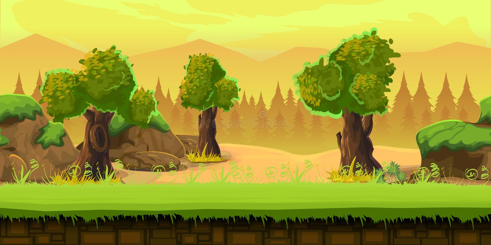 Cartoon forest landscape, endless vector nature background for games. tree, stones, art illustration. Cartoon forest landscape, endless vector nature background royalty free illustration