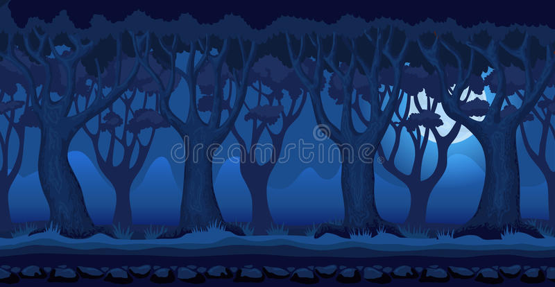 Cartoon forest at moonlit night video game background royalty free illustration