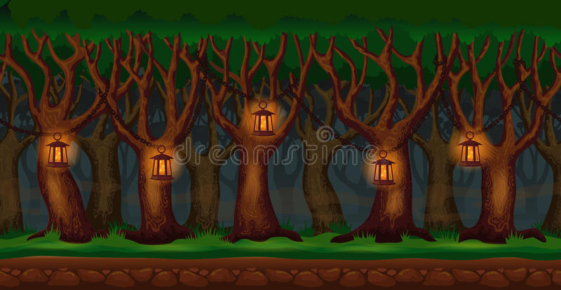 Cartoon forest at night video game background stock illustration