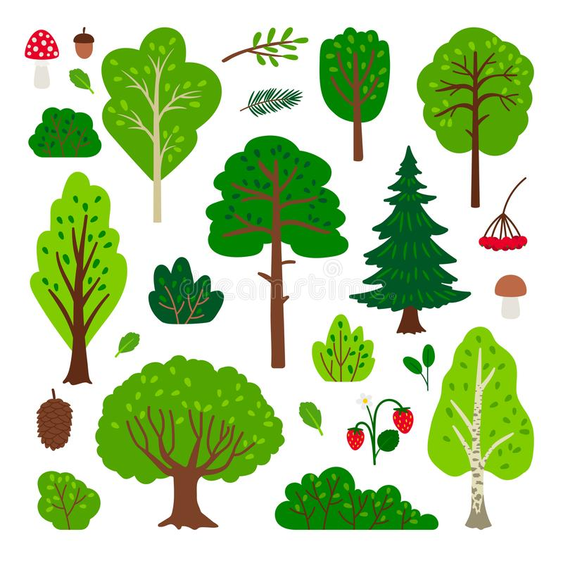 Free Cartoon Forest Tree Set Royalty Free Stock Image - 128320746
