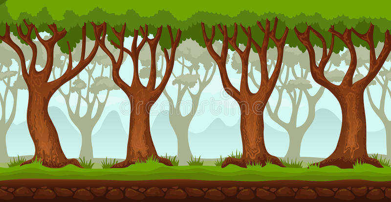 Cartoon forest video game background 2 royalty free illustration