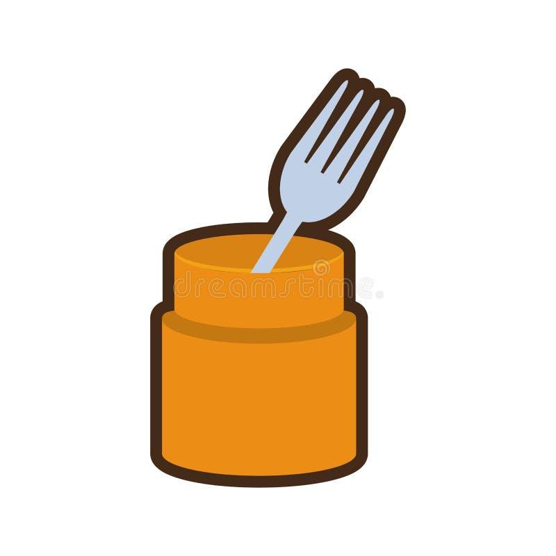 Cartoon fork container utensil kitchen. Illustration eps 10 vector illustration