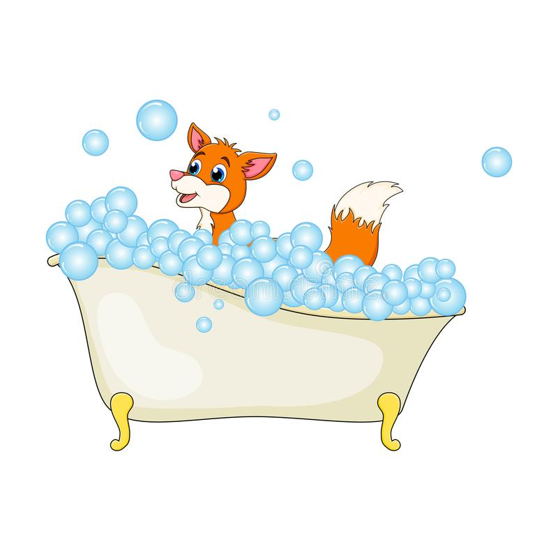 Cartoon fox in bathtub witth bubbles isolated on white background vector illustration