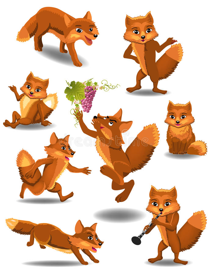 Free Cartoon Fox Doing Different Activities Royalty Free Stock Image - 54387676
