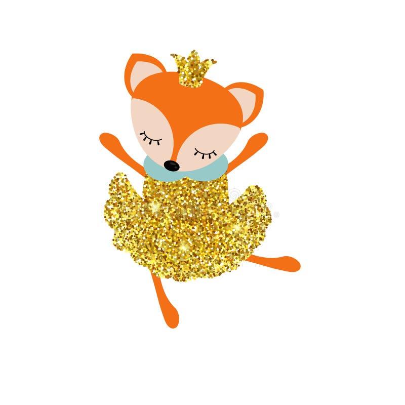 Cartoon fox with dust glitters. Cartoon fox with with dust glitters. Circus theme royalty free illustration