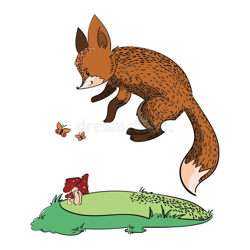 Cartoon fox running through the forest. Stylized fox in a jump. Forest animal. Art for children. Vector drawing. Cartoon fox running through the forest vector illustration