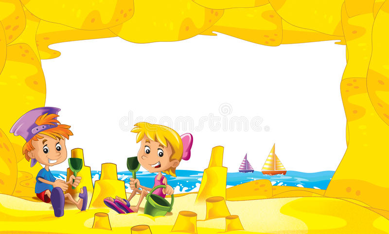 Cartoon frame with children on the beach playing in sand sailboats in the background - space for text. Beautiful and colorful illustration for the children - for royalty free illustration