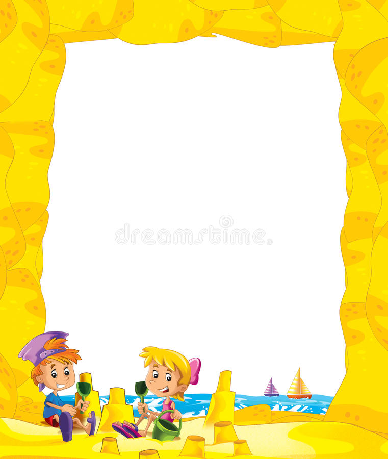 Cartoon frame with children on the beach playing in sand - space for text. Beautiful and colorful illustration for the children - for different usage - for fairy royalty free illustration