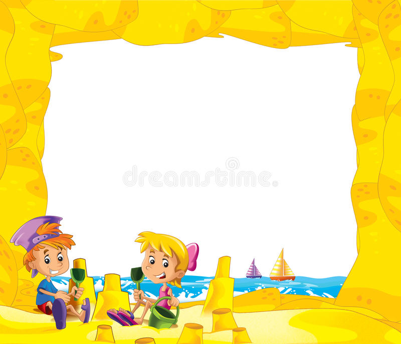Cartoon frame with children on the beach playing in sand - space for text. Beautiful and colorful illustration for the children - for different usage - for fairy stock illustration