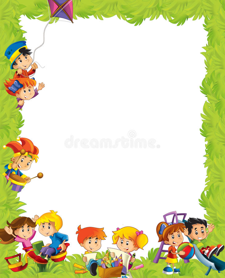 Cartoon frame with children having fun playing. Beautiful and colorful illustration for the children - for different usage - for fairy tales stock illustration